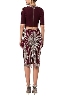 Maroon embroidered pencil skirt