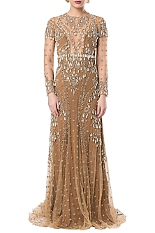 Beige embroidered full sleeves gown by ROCKY STAR