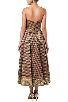 Beige embroidered dress by ROCKY STAR