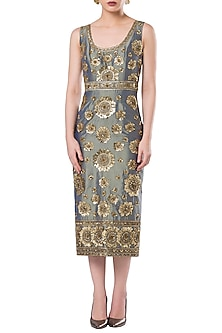 Teal embroidered shift dress by ROCKY STAR