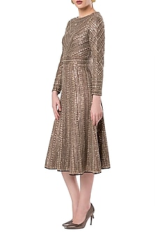 Gold embroidered A line dress by ROCKY STAR