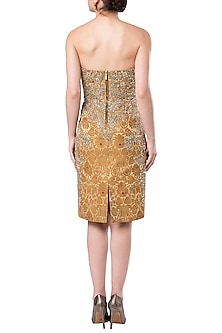 Gold embroidered sheath dress