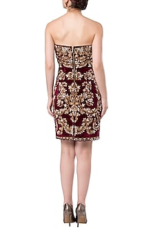 Maroon embroidered strapless dress