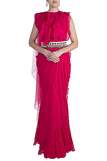 Red Ruffled Saree Set With Jewel Stone Belt by Ridhi Mehra