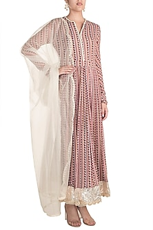 White Printed & Embroidered Anarkali Set by Ridhi Mehra