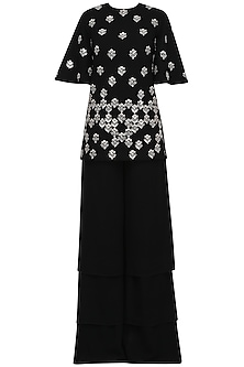 Black Mirror Work Tunic with Layered Palazzo Pants