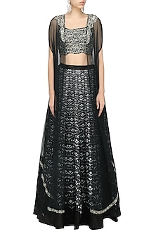 Black Printed Embroidered Lehenga and Cape Set by Ridhi Mehra