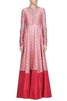 Pink Printed Embroidered Anarkali Set by Ridhi Mehra