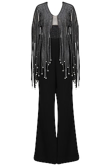 Dark Grey Fringes Top and Black Bell Bottom Pants