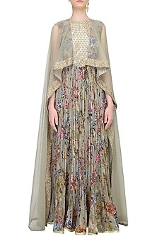 Ash Grey Printed Anarkali Set With Attached Mirror Work Sheer Cape by Ridhi Mehra