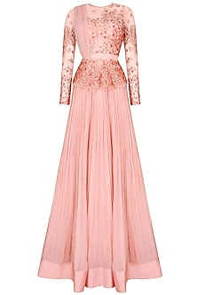 Rose Pink Floral Embroidered Peplum Top with Pleated Skirt Set by Ridhi Mehra