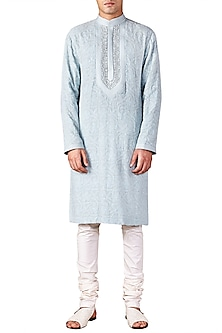 Ice Blue Lucknawi Embroidered Kurta by Ridhi Mehra