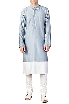 Sky Blue and Ivory Color Block Kurta