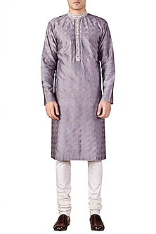 Mist Grey Embroidered Long Kurta by Ridhi Mehra