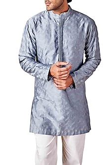 Pale Blue Chevron Embroidered Kurta