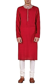 Red Long Embroidered Kurta by Ridhi Mehra