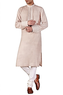 Champagne Gold Long Embroidered Kurta
