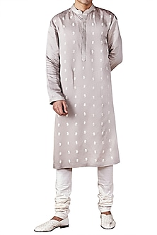 Light Grey Flower Motif Embroidered Kurta