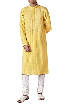 Pale Yellow Lucknawi Long Kurta