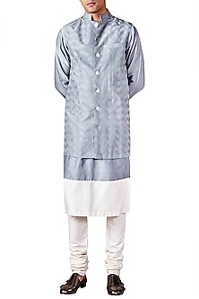 Pale Blue Chevron Embroidered Bandhgala Jacket by Ridhi Mehra