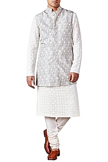Light Grey Bird Printed Bandhgala Jacket by Ridhi Mehra