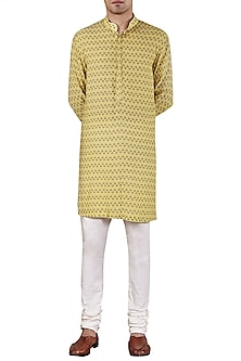 Pale Yellow Leaf Printed Kurta