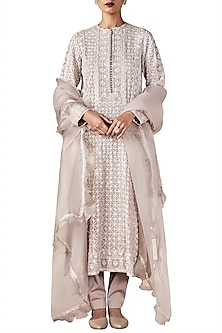 Grey Embroidered Tunic with Churidar and Dupatta