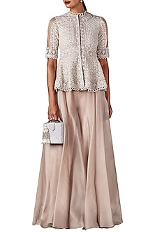 Champagne Gold Peplum Jacket with Sharara Pants by Ridhi Mehra