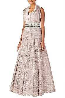 Champagne Gold Embellished Gown with Belt