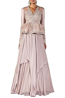 Champagne Gold Peplum Top with Draped Skirt by Ridhi Mehra