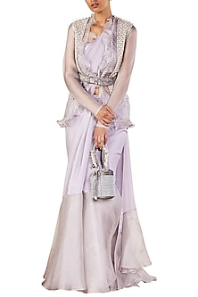 Grey Embellished Saree with Jacket and Belt by Ridhi Mehra