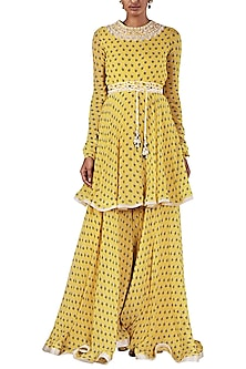 Yellow Printed Tunic with Palazzo Pants and Dupatta