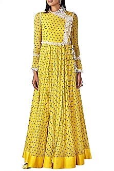 Yellow Printed Angrakha Kurta