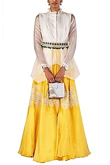 Ivory Draped Shirt with Skirt and Belt by Ridhi Mehra