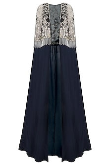 Navy Hand Lehenga with Embroidered Cape