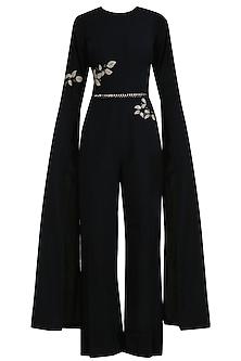 Black Leatherite Embroidered Wide Legged Jumpsuit