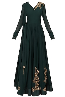 Dark Green Floral Embroidered Anarkali Set