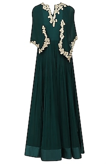 Teal Green Floral Embroidered Demi Cape Jumpsuit