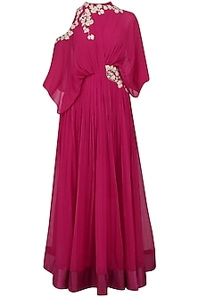 Valentino Pink Floral Embroidered Cold Shoulder Anarkali Kurta by Ridhi Mehra