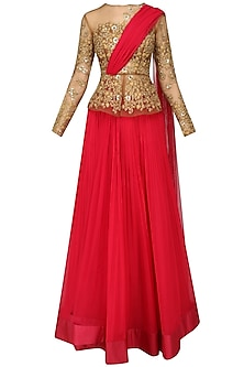 Gold Peplum Blouse with Attached Dupatta and Hot Pink Skirt by Ridhi Mehra