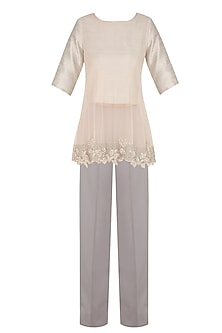 Silver Embroidered Top with Blouse and Pants by Ridhi Mehra