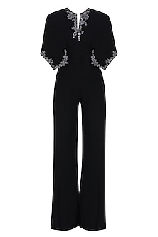 Black Floral Embroidered Cape Jumpsuit