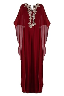 Wine Floral Embroidered Reverse Cape Jumpsuit
