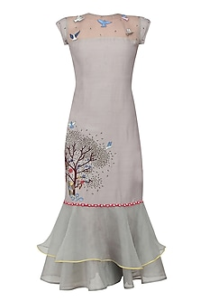 Grey Blasting Tree Hand Embroidered Long Dress