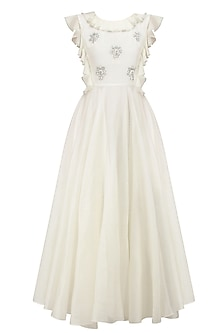 Ivory Embroidered Rose Motifs Ruffle Neck Dress