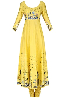 Yellow Tropical Forest Hand Embroidered Anarkali Set