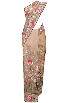 Nude Floral Hand Embroidered Saree