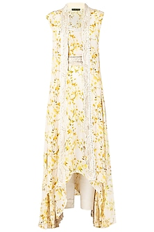 Yellow Embroidered Kurta with Overlay Cape Set