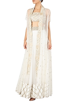 White Embroidered Lehenga with Bustier and Cape Jacket by Ritika Mirchandani