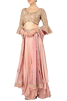 Pink Embroidered Lehenga Set by Ritika Mirchandani